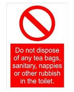 Do not dispose of rubbish in toilet - Door Self Adhesive Sticker