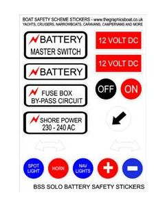 BSS Solo Battery - Boat Safety Scheme safety stickers.