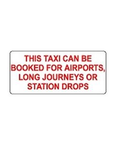 This taxi can be booked for long journeys sticker