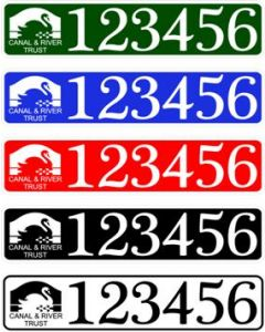 CART Boat Number/Index Number / Sticker Plate Style - colours available