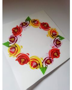 Traditional Style Canal Rose Sticker  Design 10A