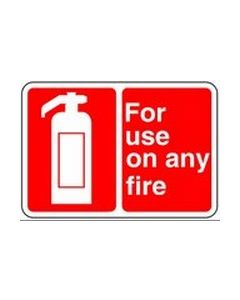 Extinguisher for use on any fire Safety Sticker