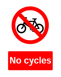 No Cycles, Prohibition Safety Sticker