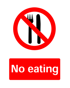 No Eating, Prohibition Safety Sticker