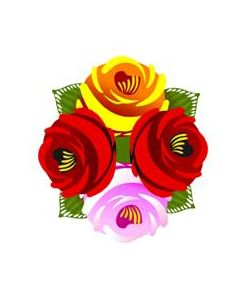 Traditional Style Canal Rose Sticker  Design 25