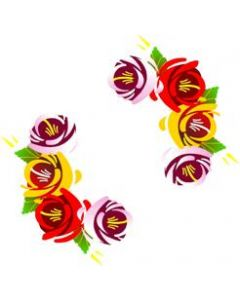 Traditional Style Canal Rose Sticker  Design 7 (Pair)