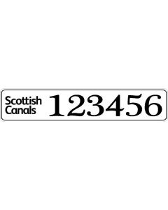 Scottish Canals Boat Index Number Sticker Plate Style (Pair)